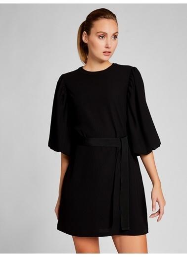 Vekem-Limited Edition Belden Bağlamalı Truvakar Kol Elbise Siyah